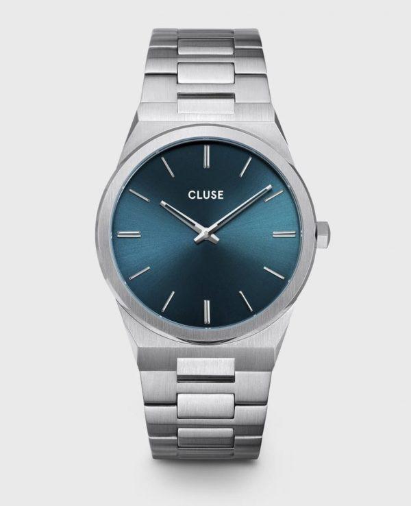 Cluse Vigoureux Steel Petrol Blue, Silver Colour