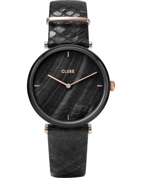 CLUSE Triomphe Black Leather Strap
