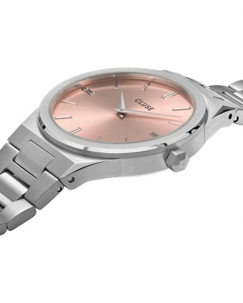 CLUSE Vigoureux 33 Silver Stainless Steel Bracelet Pink Dial