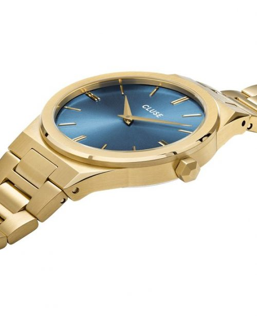 CLUSE Vigoureux 33 Gold Stainless Steel Bracelet Blue Dial