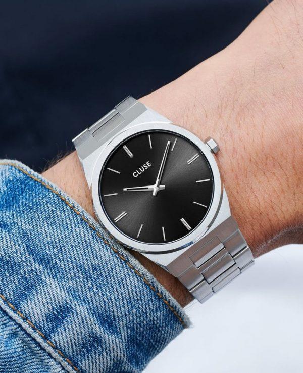 Cluse Vigoureux Steel Black, Silver Colour