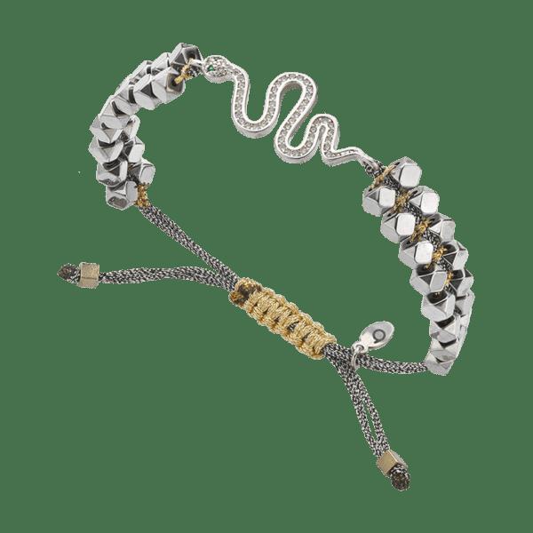 BREEZE Macramé Bracelet, Fine BREEZE metal, Silver-tone plated 310030.4