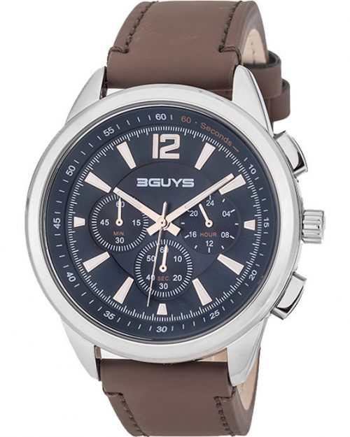 3GUYS Chronograph Brown Leather Strap 3G48002