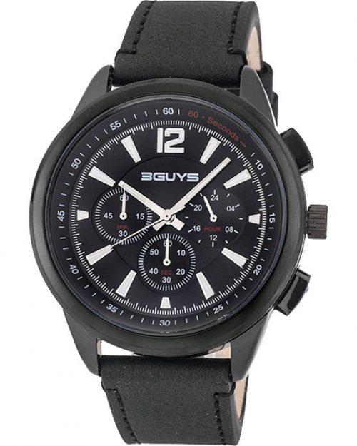 3GUYS Chronograph Black Leather Strap 3G48003