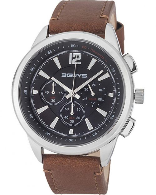 3GUYS Chronograph Brown Leather Strap 3G48004