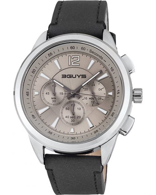 3GUYS Chronograph Brown Leather Strap 3G48005