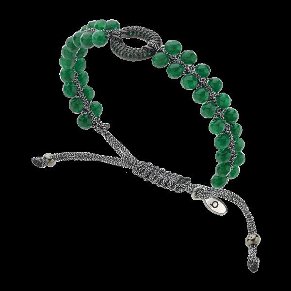 BREEZE Macramé Bracelet, Metalized Cord, Gun Metal plated 310031.4