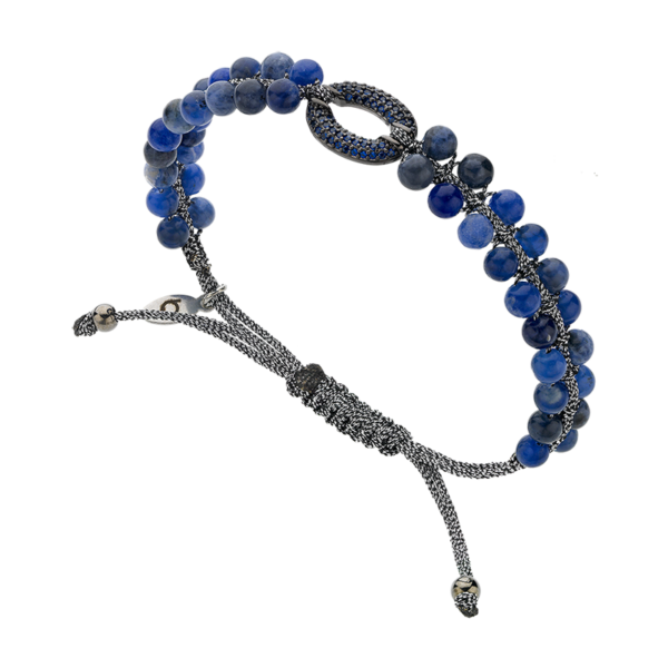 BREEZE Macramé Bracelet, Metalized Cord, Gun Metal plated 310031.6