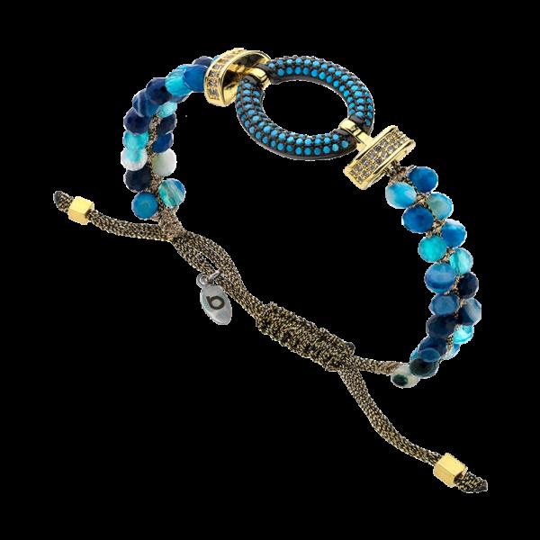 BREEZE Macramé Bracelet, Metalized Cord, Gold plated 310032.1