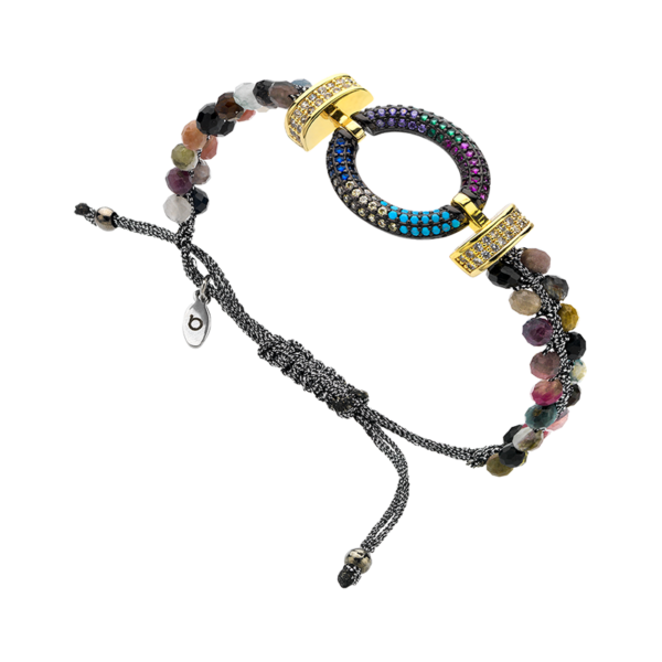BREEZE Macramé Bracelet, Metalized Cord, Gold plated 310032.4