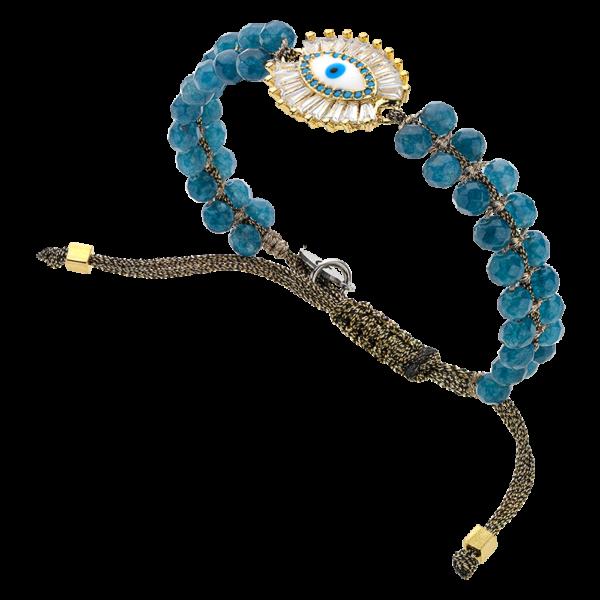 BREEZE Macramé Bracelet, Metalized Cord, Gold plated 310033.1