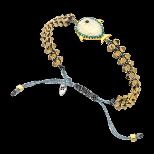 BREEZE Macramé Bracelet, Metalized Cord, Gold plated 310034.1