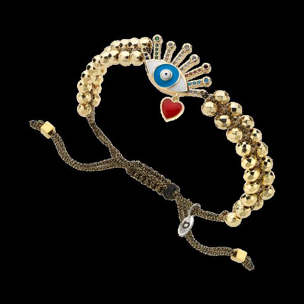 BREEZE Macramé Bracelet, Metalized Cord, Gold plated 310035.1