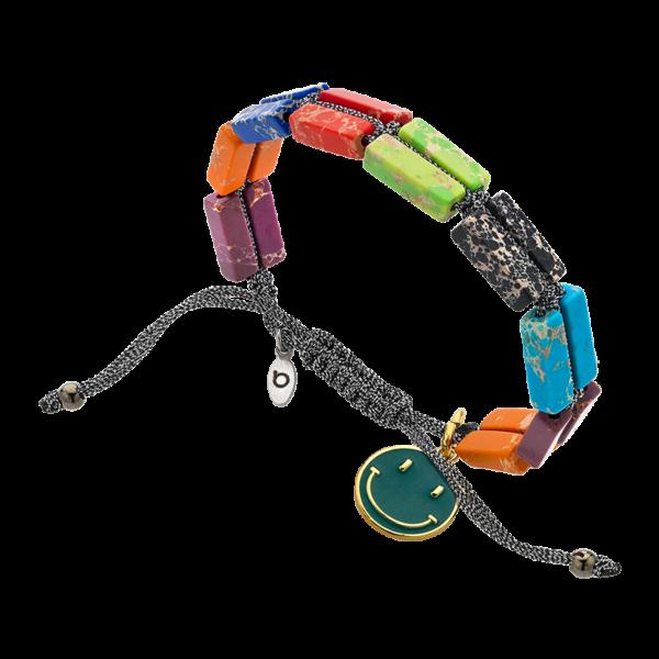 BREEZE Macramé Bracelet, Metalized Cord, Alloy, Enamel 310037.12