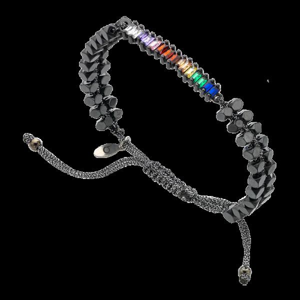BREEZE Macramé Bracelet, Metalized Cord, Alloy, Gun Metal plated 310038.9