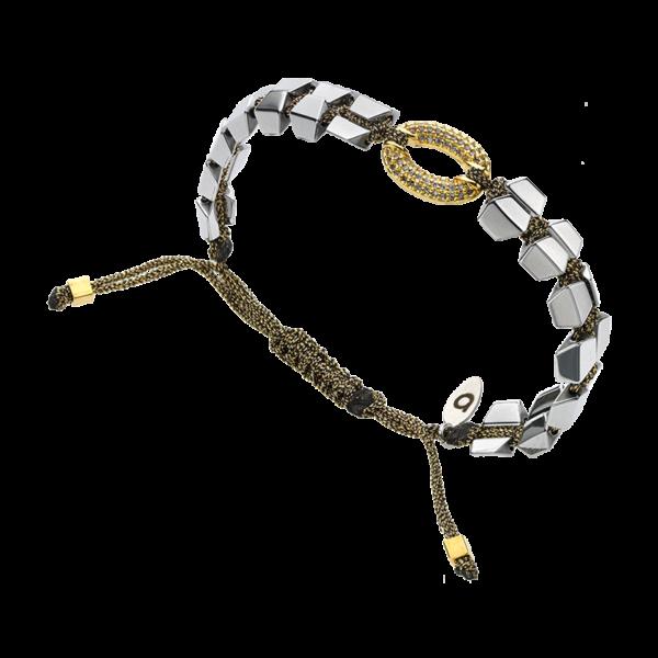 BREEZE Macramé Bracelet, Metalized Cord, Silver-Gold plated 310039.4