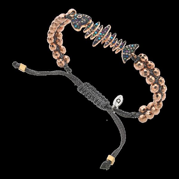 BREEZE Macramé Bracelet, Metalized Cord, Rose Gold plated 310041.3
