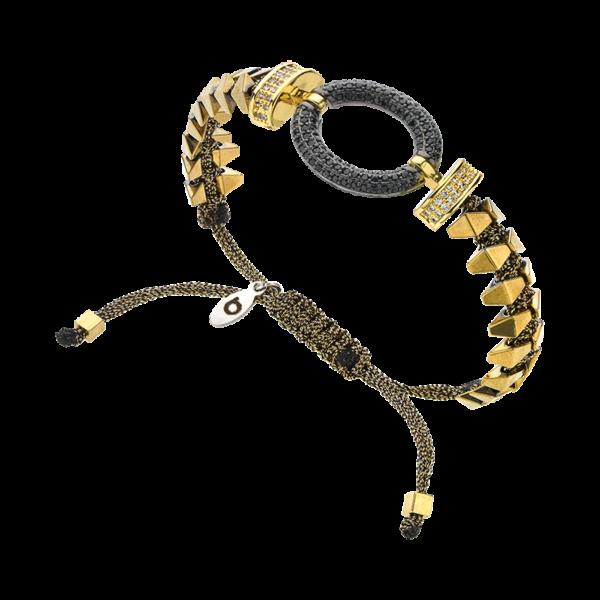 BREEZE Macramé Bracelet, Metalized Cord, Alloy, Gold plated 310043.1