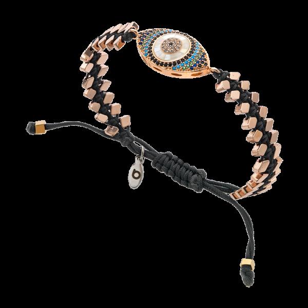 BREEZE Macramé Bracelet, Cord, Alloy, Rose Gold plated 310044.3