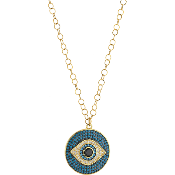 BREEZE Evil Eye Necklace, Stainless steel, Gold-tone plated 410034.1