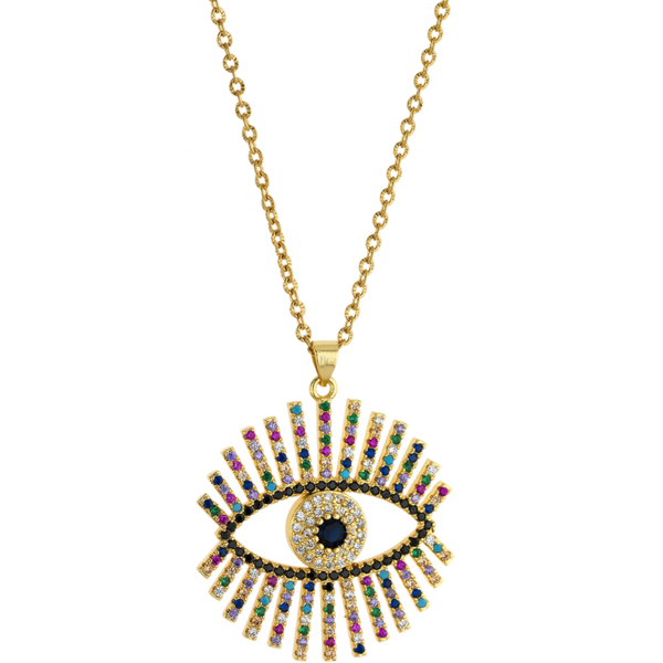 BREEZE Evil Eye Necklace, Stainless steel, Gold-tone plated 410035.1