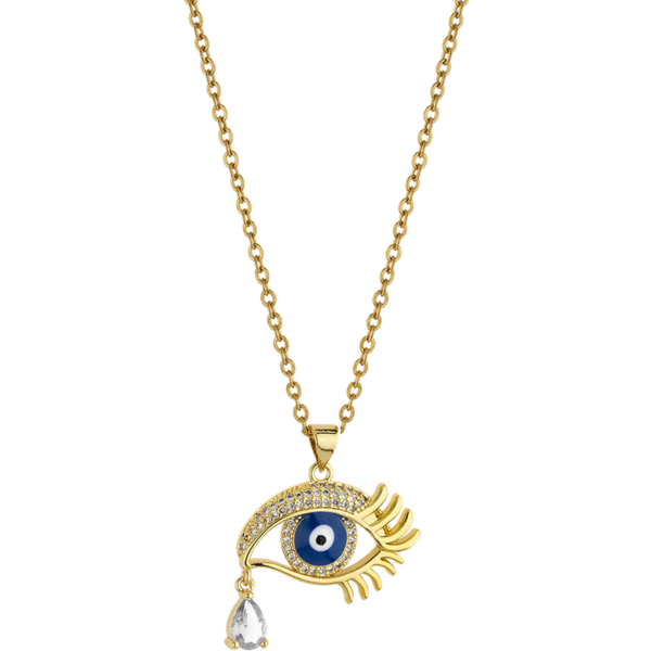 BREEZE Crying Evil Eye Necklace, Stainless steel, Gold-tone plated 410036.1