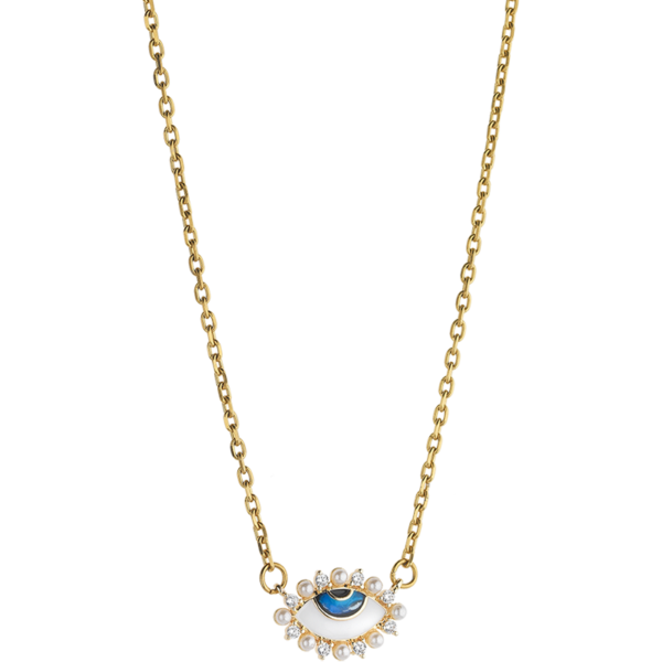 BREEZE Evil Eye Necklace, Stainless steel, Gold-tone plated 410037.1