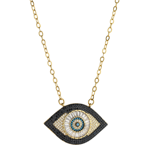 BREEZE Evil Eye Necklace, Stainless steel, Gold-tone plated 410042.1